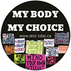 "The text ""MY BODY MY CHOICE"" above a composite of pro-choice protest sign photos"